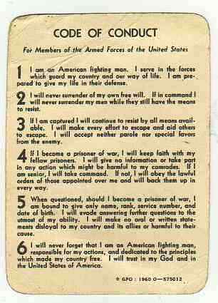 US Marines Code of Conduct